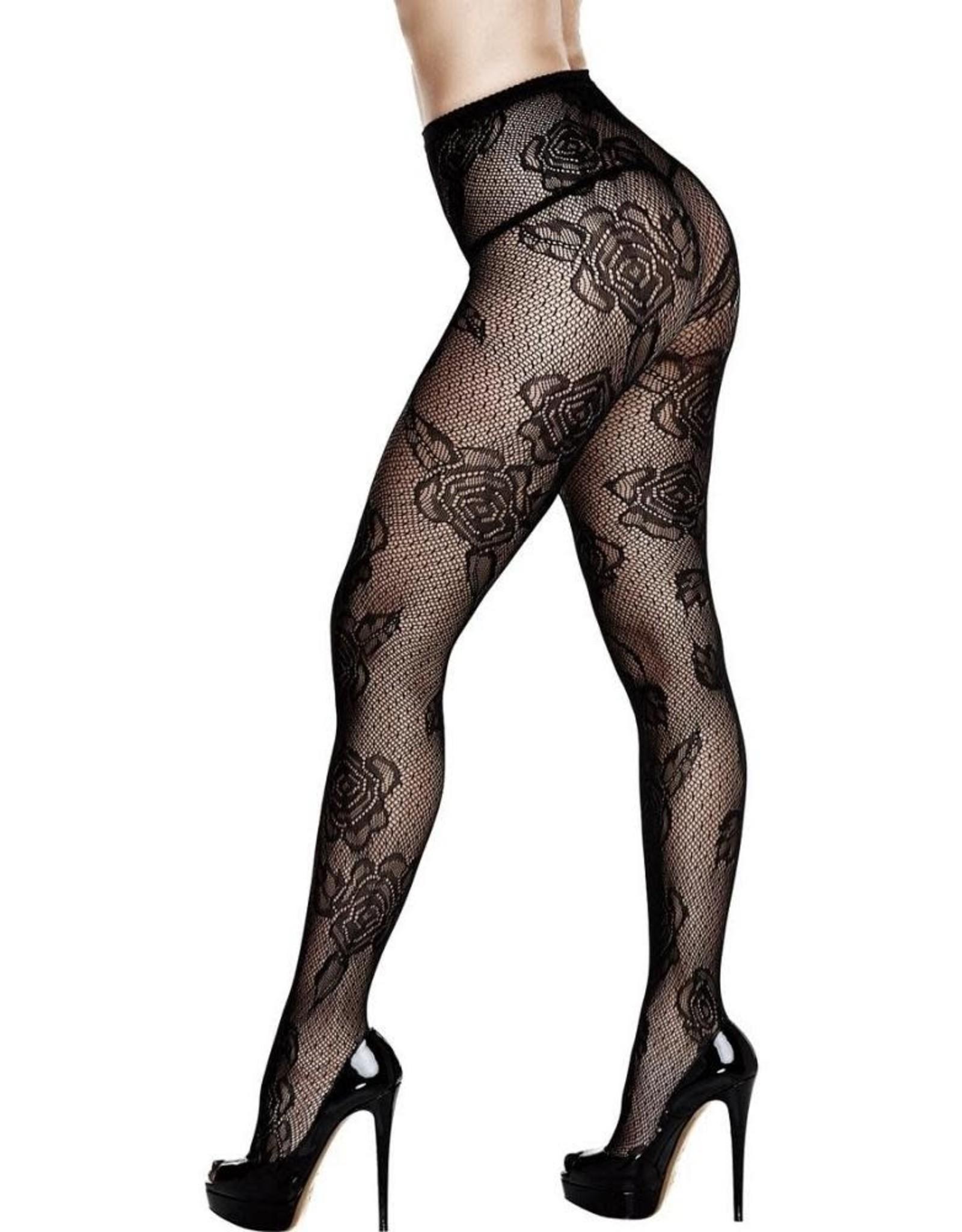 Baci Black Dotted Floral Lace Pantyhose OS/XL