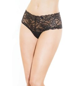 Coquette Black Lace and Microfiber High Waisted Thong OS