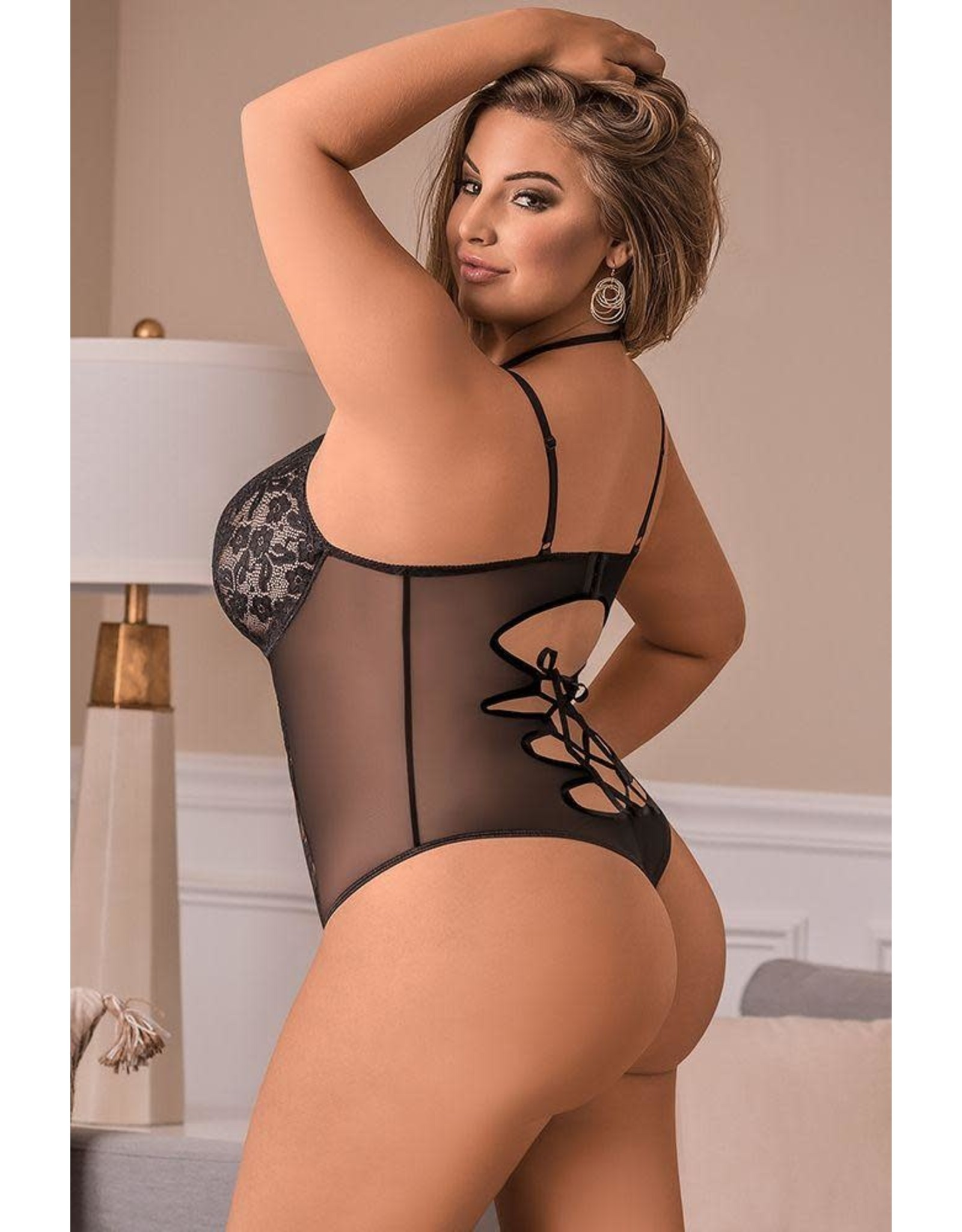 Black Widow Lace and Mesh Teddy OS/XL