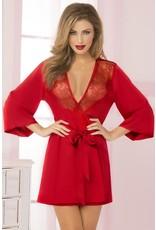 Cardinal Red Satin and Eyelash Lace Robe OS