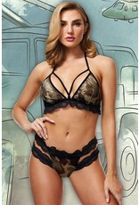 Baci Criss-Cross Lace and Mesh Army Girl 2pc Set in OS