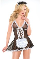Coquette French Maid Babydoll & Headpiece Costume OS