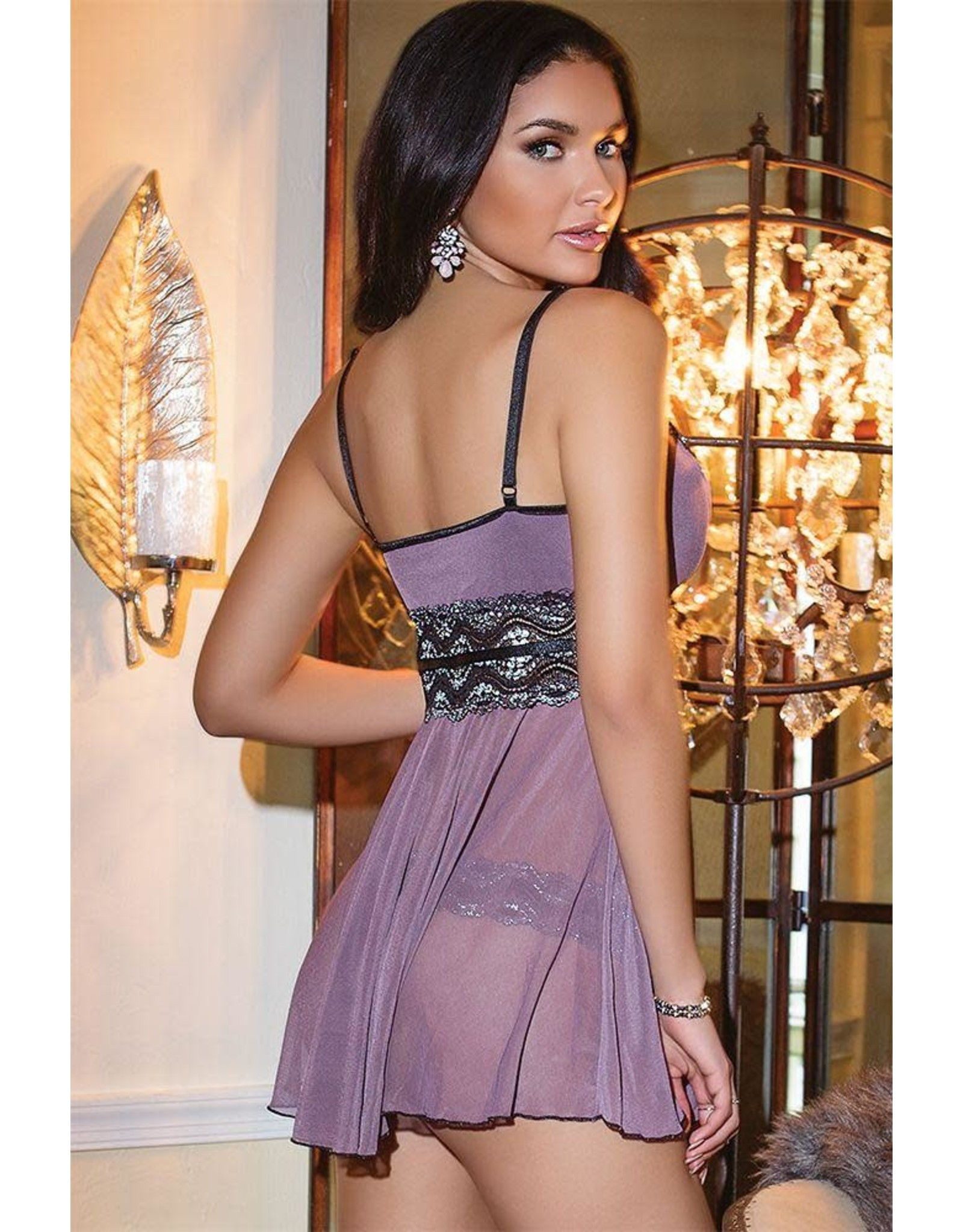 Coquette Mesh & Metallic Lace Babydoll and G-String in Large