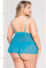 Mesh who? Two Piece Teal Babydoll Set in OS/XL