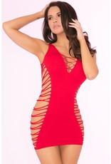 Pink Lipstick Red Rule Breaker Open Side Dress OS