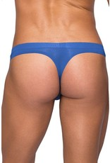 Seamless Blue Thong with Sheer Pouch in L/XL