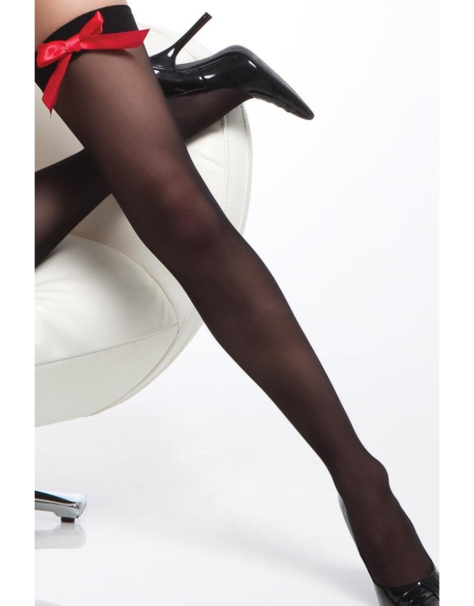 Coquette Sheer Bow-Top Thigh High Black & Red OS