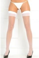 Rene Rofe Sexy Sheer White Thigh Highs OS
