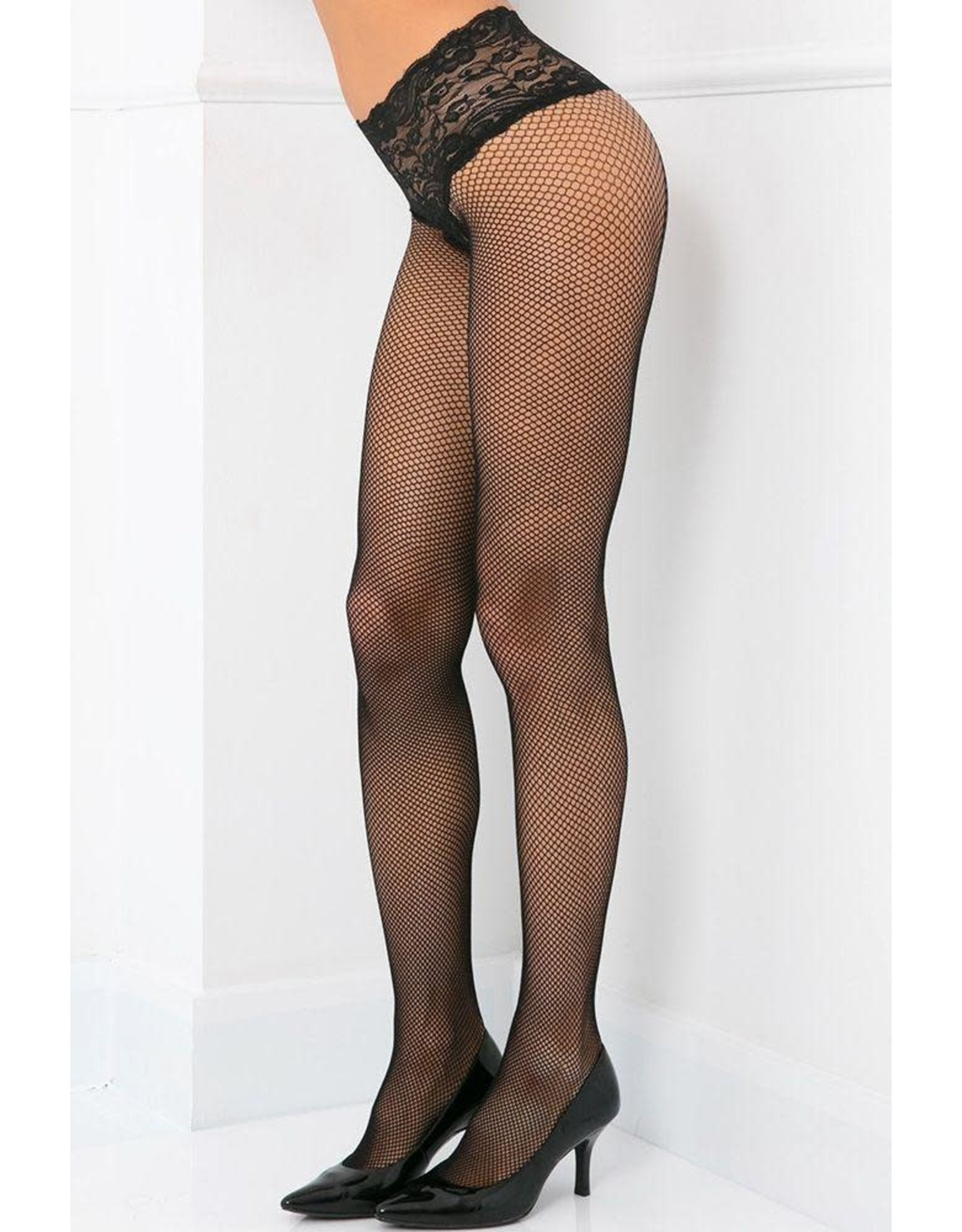 Rene Rofe Sexy Take It From the Lace Top Fishnets Black OS