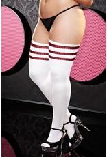 White and Red Stripe Rib Knit Thigh High Sock OS/XL