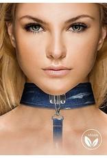 Ouch! Denim Collar - With Leash - Roughend Denim Style - Blue