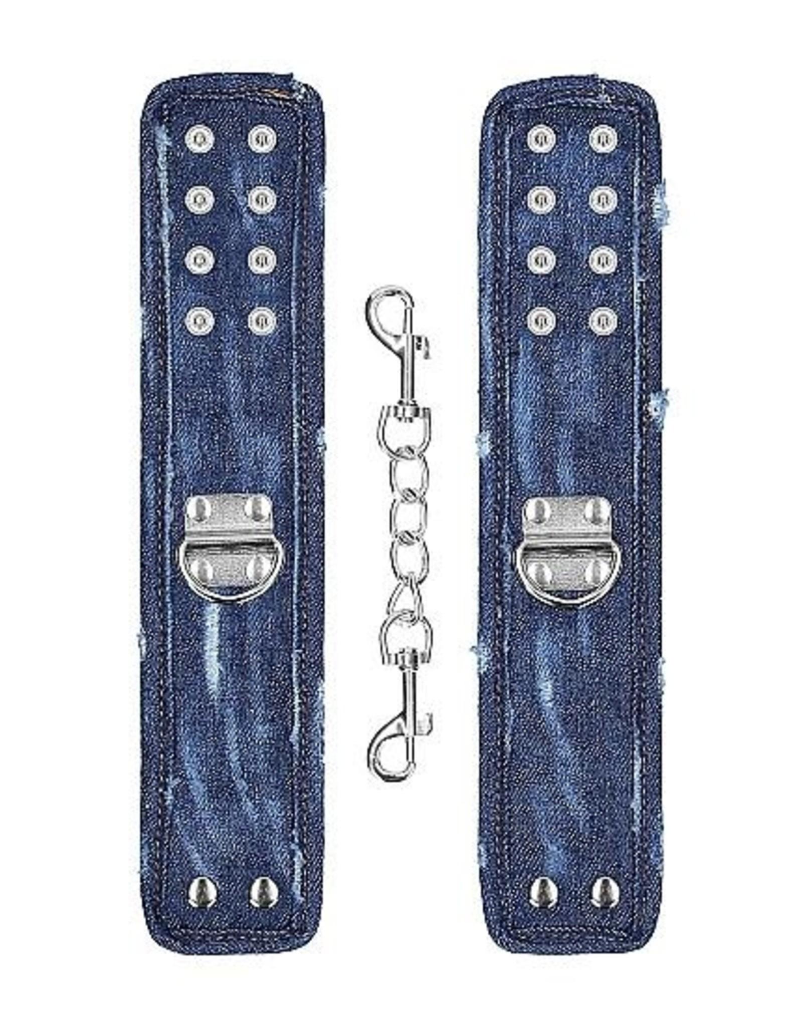Ouch! Ouch! Denim Handcuffs - Roughend Denim Style - Blue