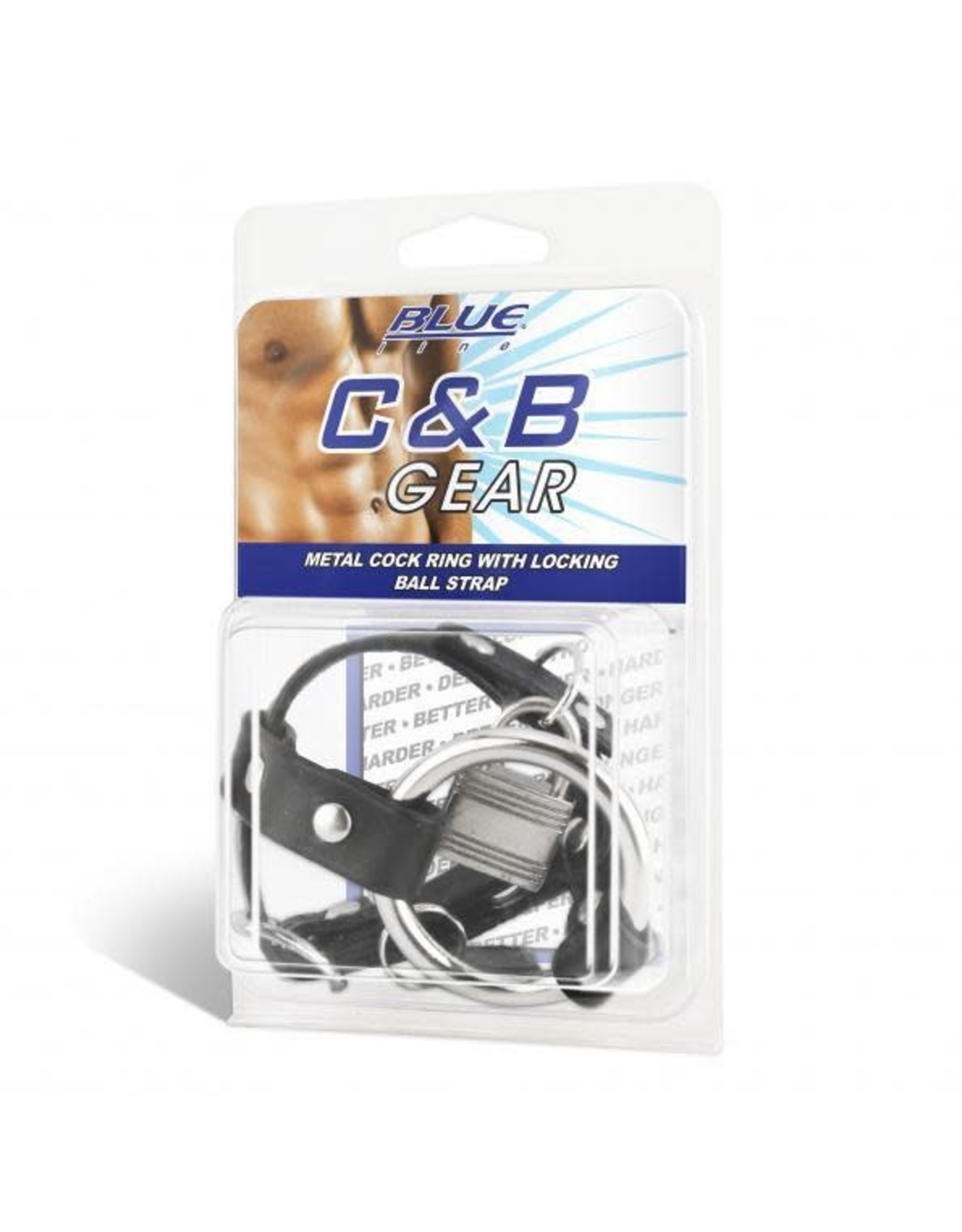 Blueline C & B Gear Blueline - Metal Cock Ring With Locking Ball Strap