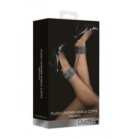 Ouch! Plush Leather Ankle Cuffs in Black