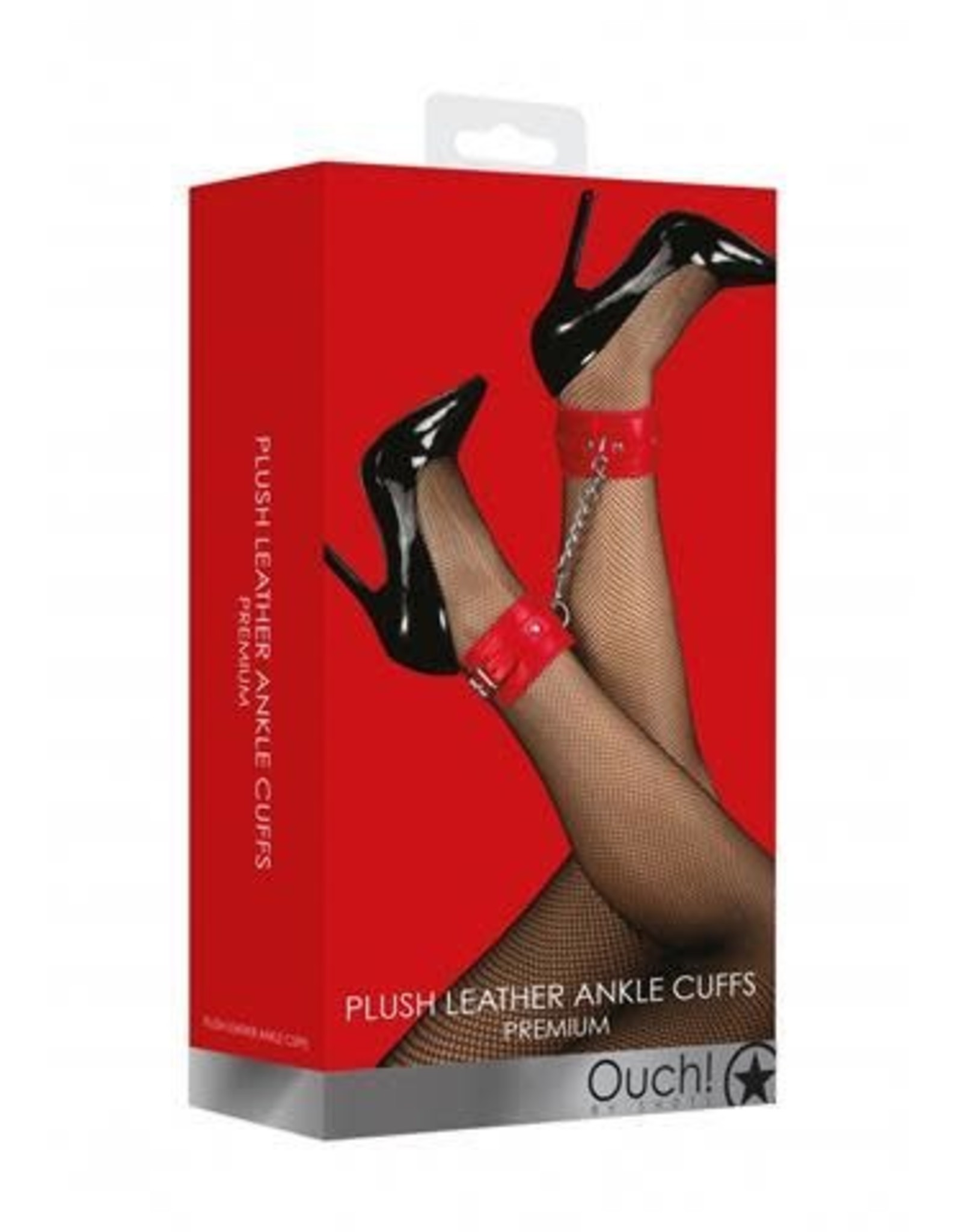 Ouch! Ouch! Plush Leather Ankle Cuffs in Red
