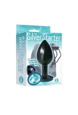 Icon Brands Silver Starter Anodized Bejeweled Steel Plug - Black/Aqua