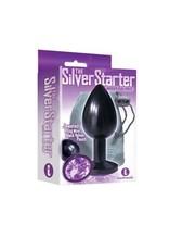 Icon Brands Silver Starter Anodized Bejeweled Steel Plug - Black/Violet