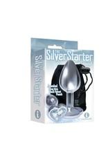 Icon Brands Silver Starter Heart Bejeweled Steel Plug - Diamond