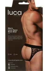 Allure Lingerie Luca by Allure - Lace Open Back Brief - Black - (S/M)