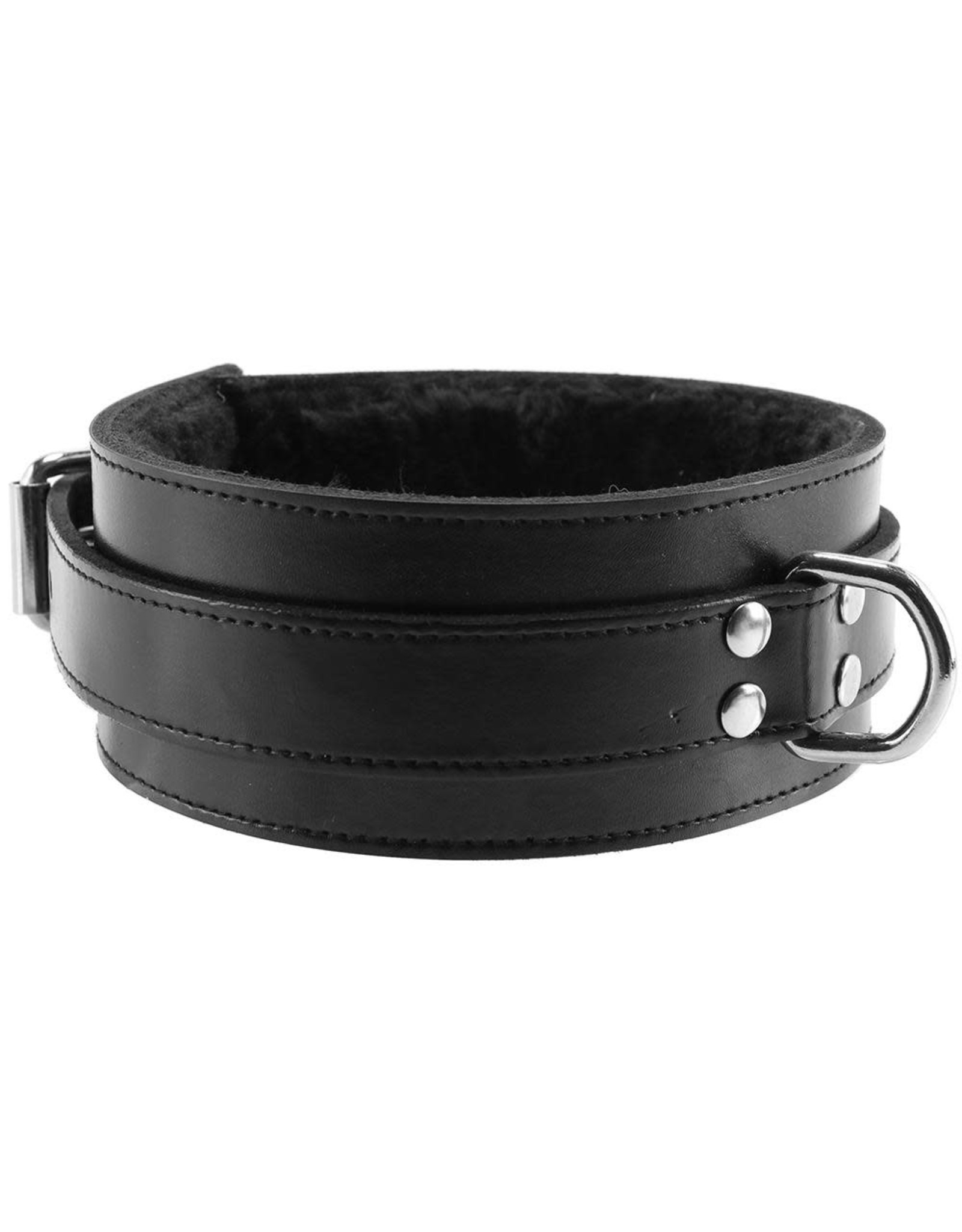 Rouge - Fur Lined Leather Collar - Black