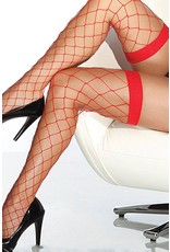 Coquette Fencenet Thigh High Stockings - Red - OS