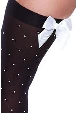Baci Polka Dot Thigh High with Bow - Black/White - OSXL
