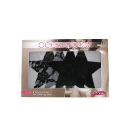 X-Gen Peekaboos Premium Pasties - Stars - Black/Lace