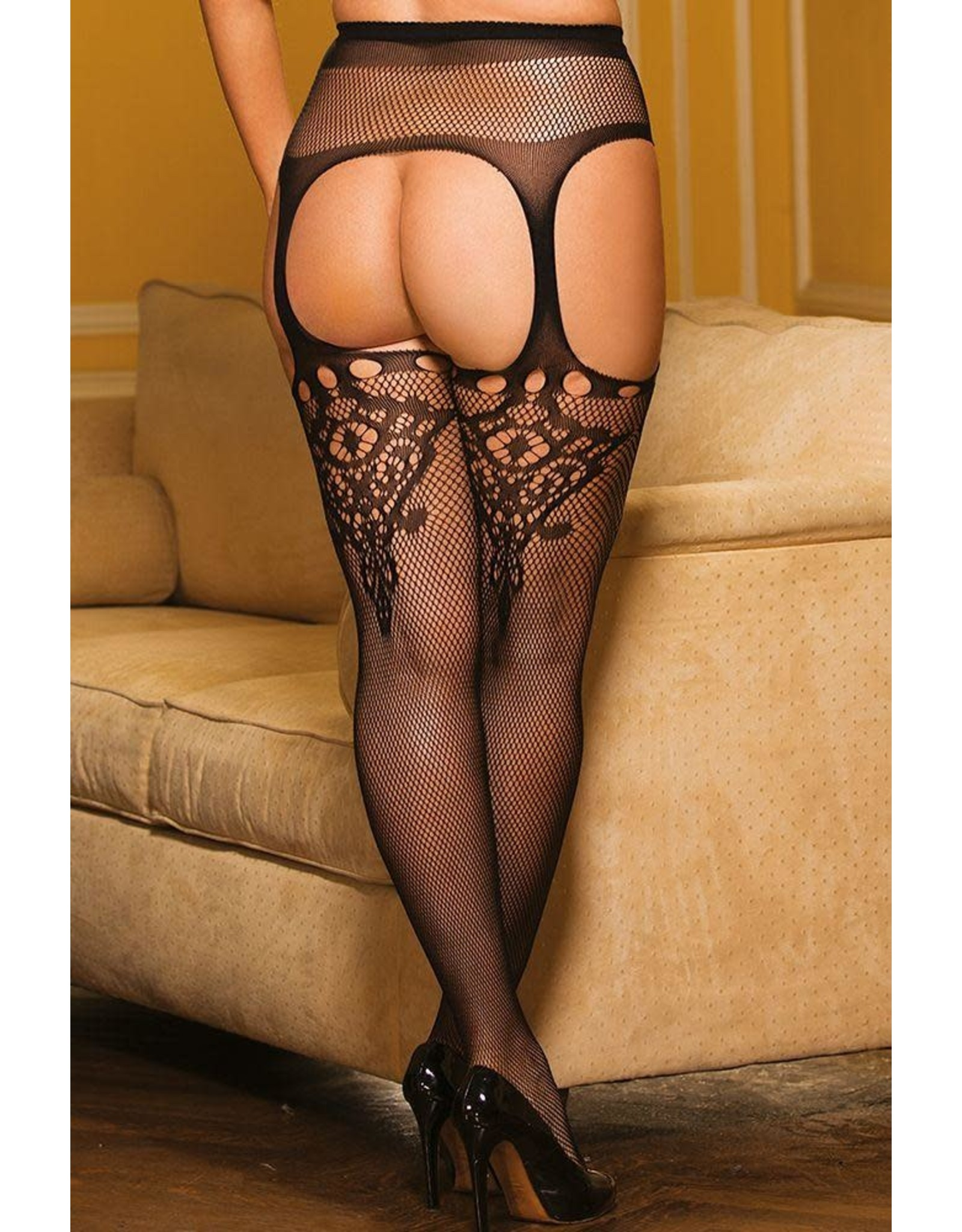 Suspender Pantyhose with Attached Garterbelt - OS/XL
