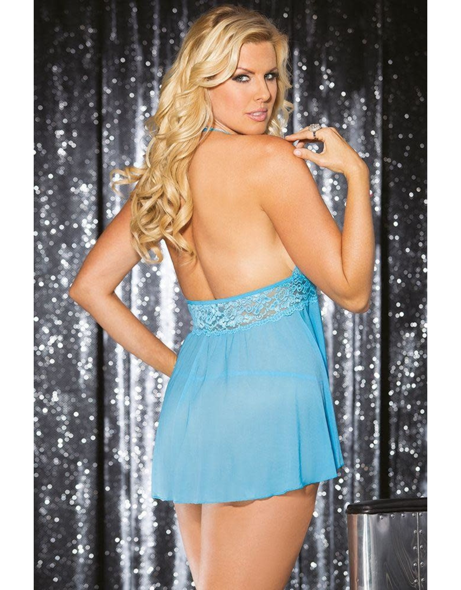Stretch Mesh and Lace Babydoll with Bow - Turquoise - OSXL