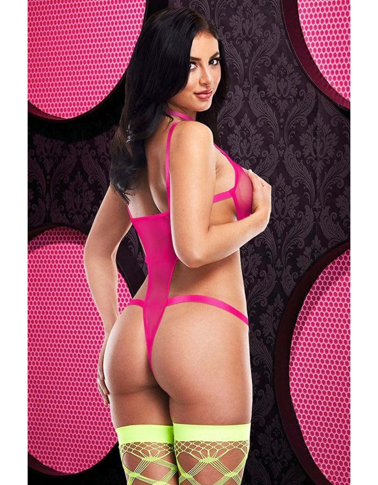 Strappy Caged Teddy - Hot Pink - OS