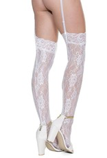 Coquette Floral Lace Top Stockings - White - OS Coquette