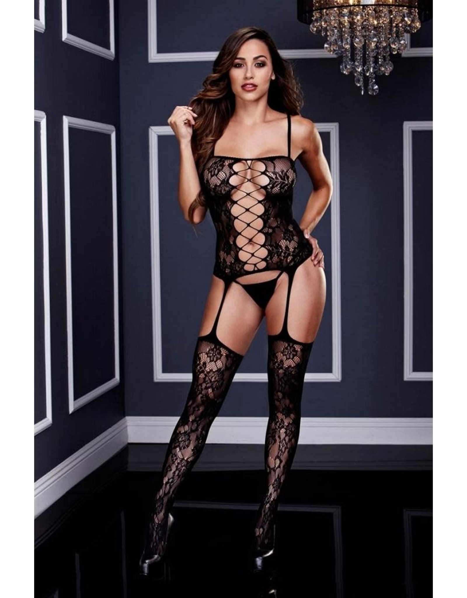 Baci Corset Front Suspender Lace Bodystocking - OS