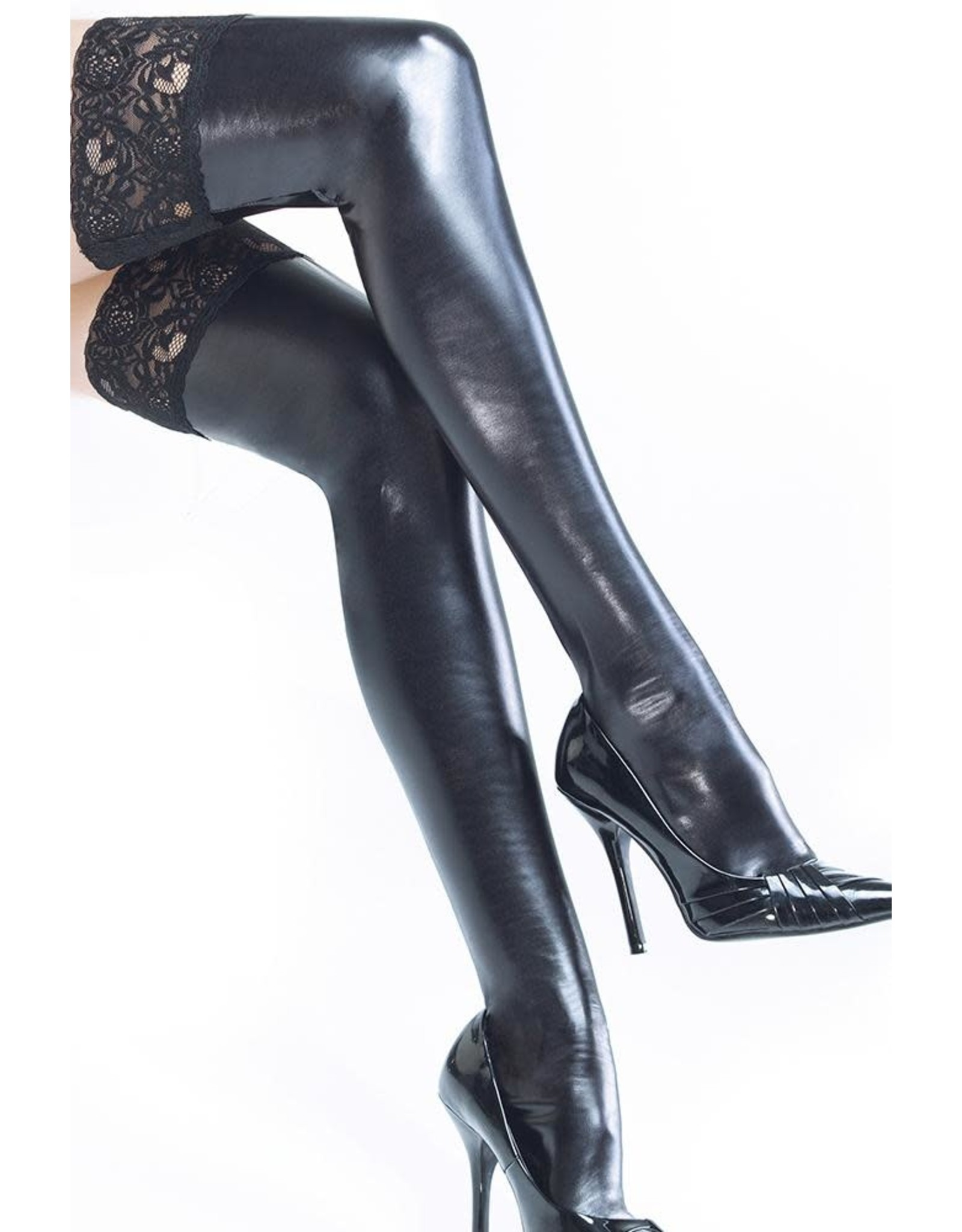 Coquette Coquette - Wetlook Black Thigh Highs with Silicone Grip Tops - OS