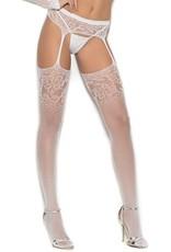 Elegant Moments Classic White Crochet Suspenderhose - OS