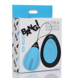 XR Brands Bang! 10X Silicone Vibrating Egg - Blue
