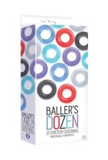 Icon Brands Baller's Dozen - 12 Stretchy Cock Rings Individually Wrapped