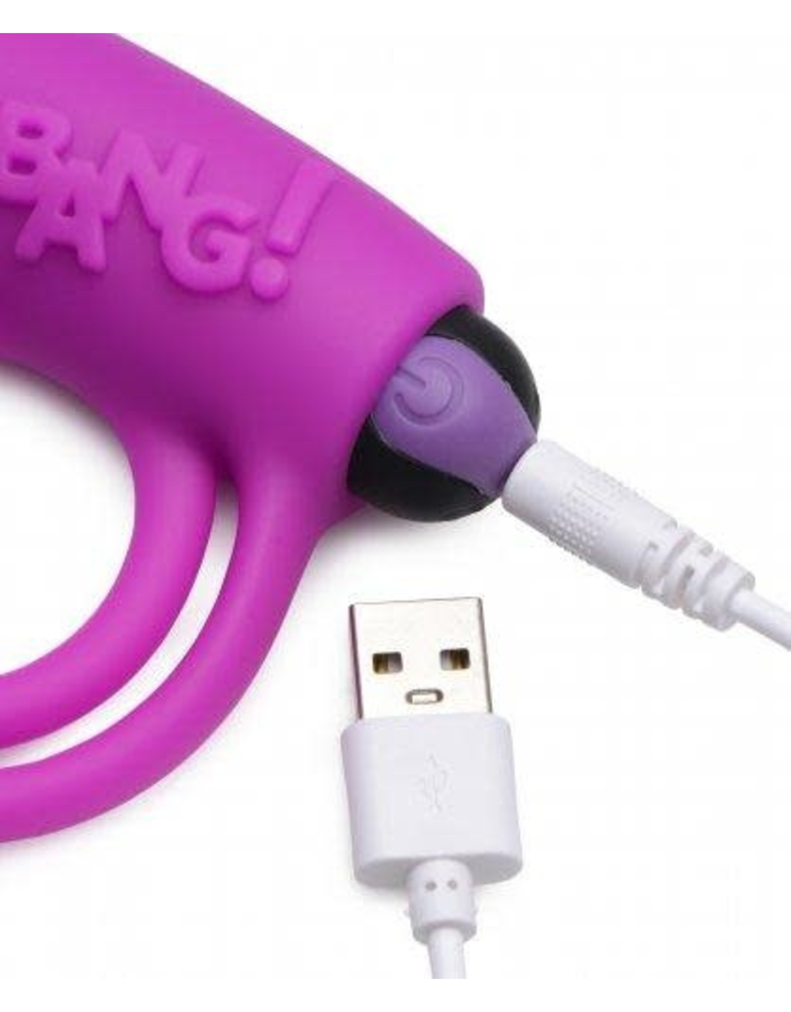 XR Brands Bang! Rechargeable Silicone Cock Ring and Bullet With Remote - Purple