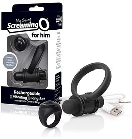 Screaming O Screaming O - Rechargeable Vibrating Ring Set - Black