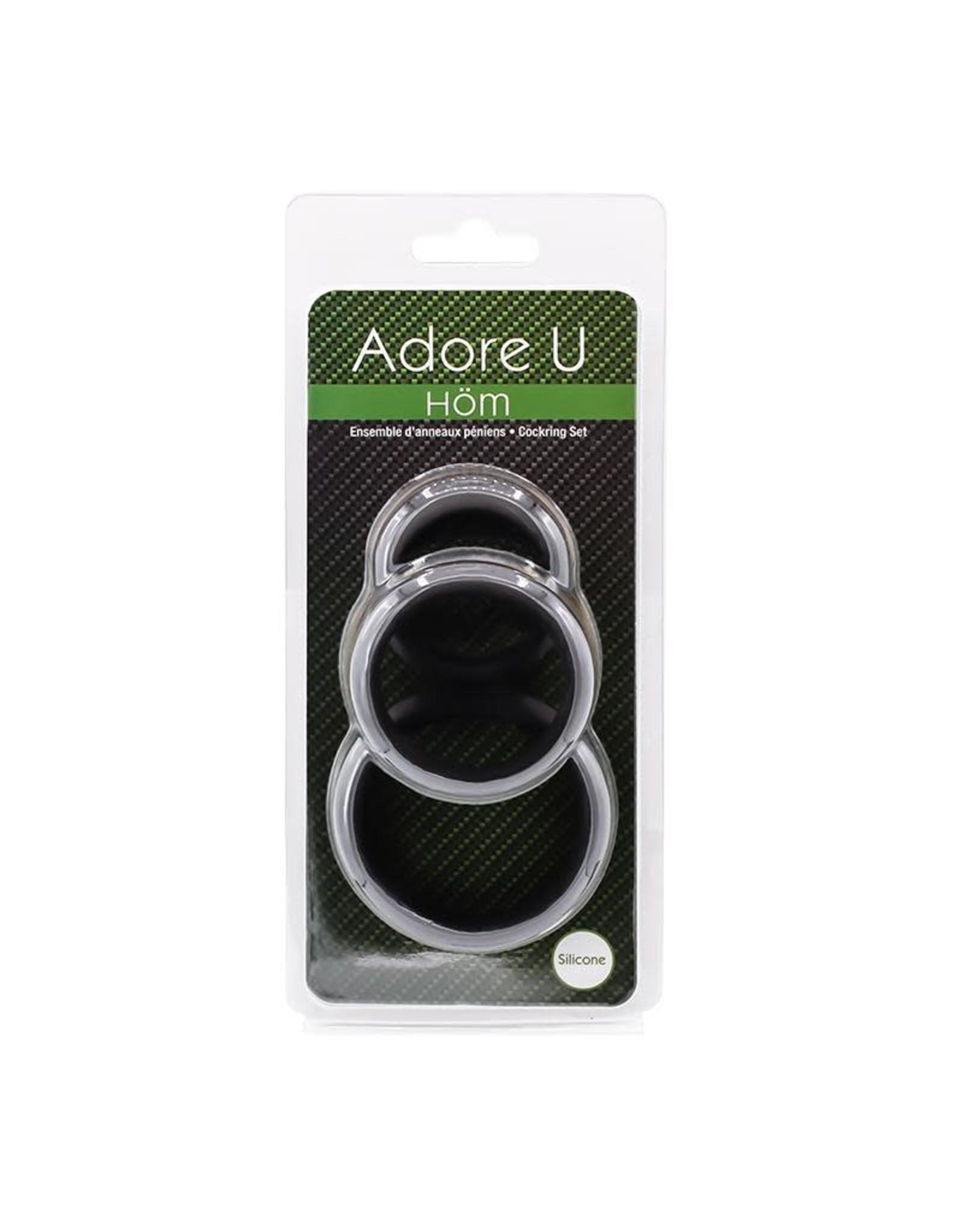 Adore U Adore U Hom - Cock Ring Set (black)