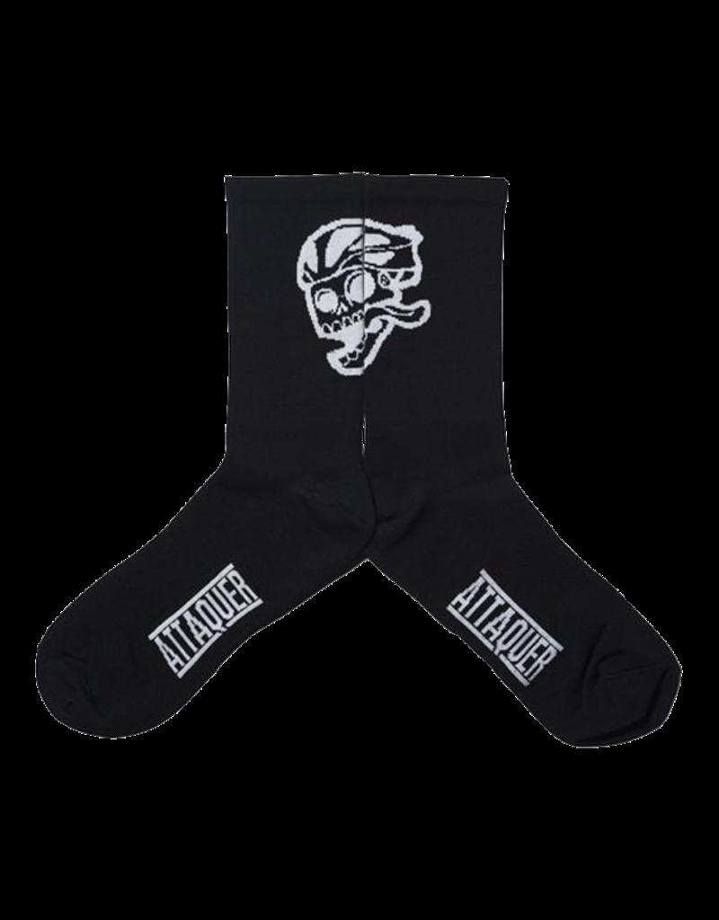 Attaquer Attaquer Socks Big Skull Logo Black