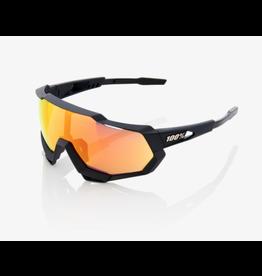 100% 100% Sunglasses Speedtrap Soft Tack Black, Hiper Red Mutilayer Mirror Lens