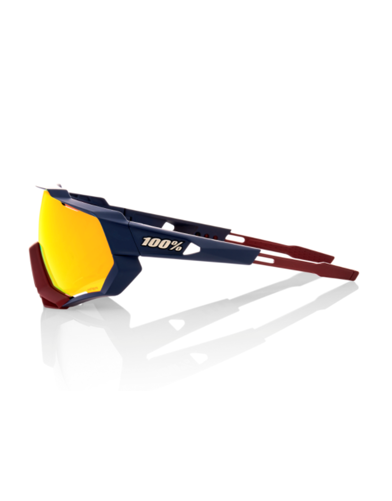 100% 100% Sunglasses Speedtrap Soft Tact Flume Hiper Red Lens
