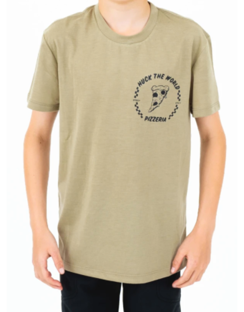 Huck The World Huck The World Youth Pizza SS Tech Tee Olive