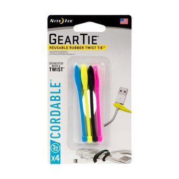 """NITE IZE GEAR TIE CORDABLE 3"""" 4PK ASSORTED"""
