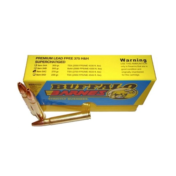 BUFFALO BORE 375 H&H 270GR SUPERCHARGED