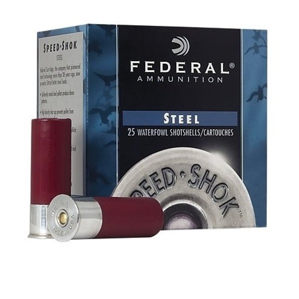 "FEDERAL 12GA 2-3/4"" 1-1/8 #4 STEEL SPEED SHOK 25CT"