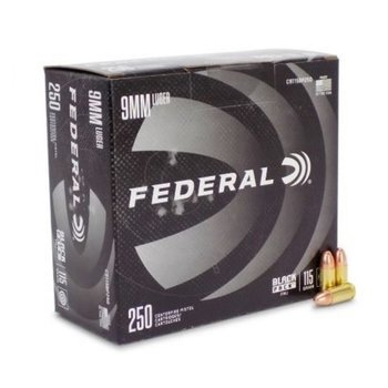 FEDERAL 9MM 115GR FMJ BLACK PACK 250CT