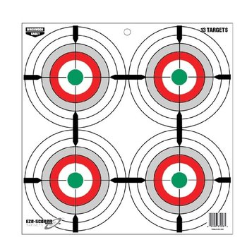 "BIRCHWOOD CASEY EZE-SCORER 12"" MULTI BULL'S EYE SINGLE SHEETS"