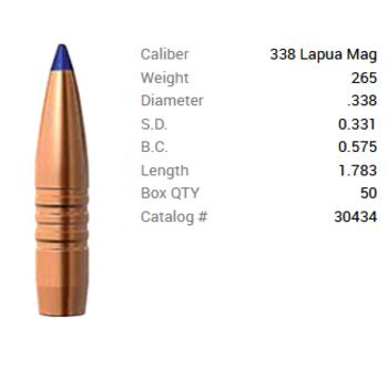BARNES 338 LAPUA 265GR LRX BT