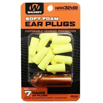 WALKERS SOFT FOAM EAR PLUGS WITH CANISTER Yellow 7 pairs